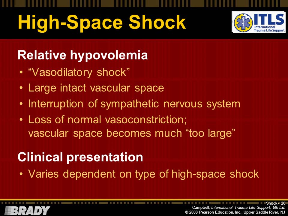 Campbell, International Trauma Life Support, 6th Ed. © 2008 Pearson Education, Inc., Upper Saddle River, NJ Low-Volume Shock Absolute hypovolemia Larg