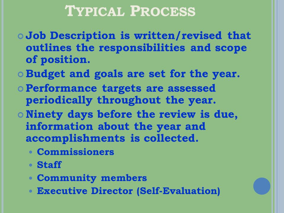 T YPICAL P ROCESS ( CONT.) Documents are drafted and reviewed by Commissioners.