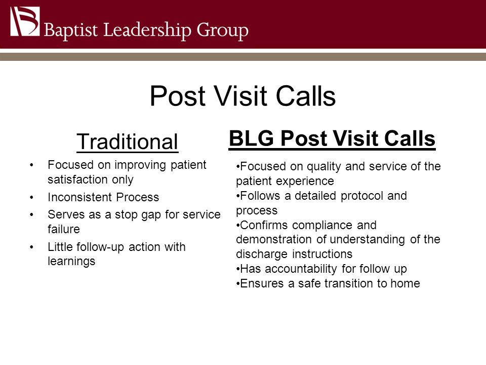 Post Visit Calls Traditional Focused on improving patient satisfaction only Inconsistent Process Serves as a stop gap for service failure Little follo