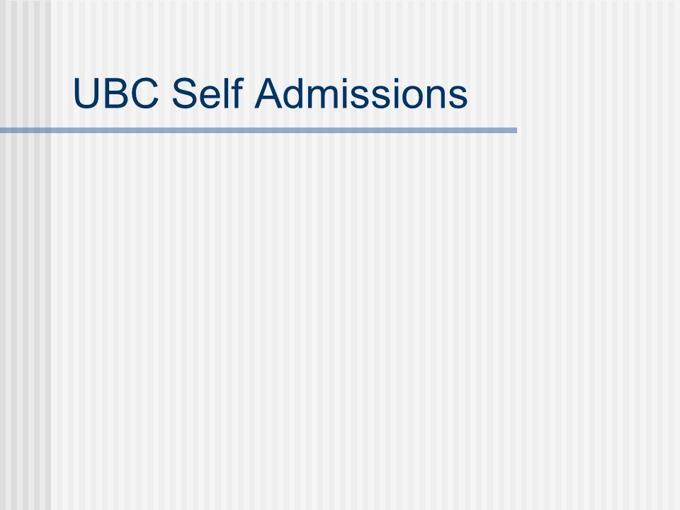 UBC Self Admissions