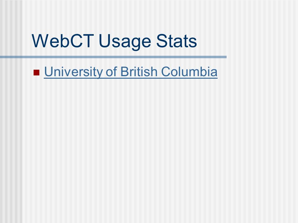 WebCT Usage Stats University of British Columbia