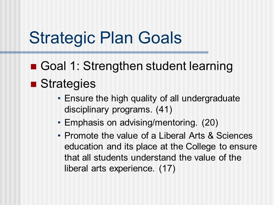 Strategic Plan Goals Goal 1: Strengthen student learning Strategies Ensure the high quality of all undergraduate disciplinary programs.
