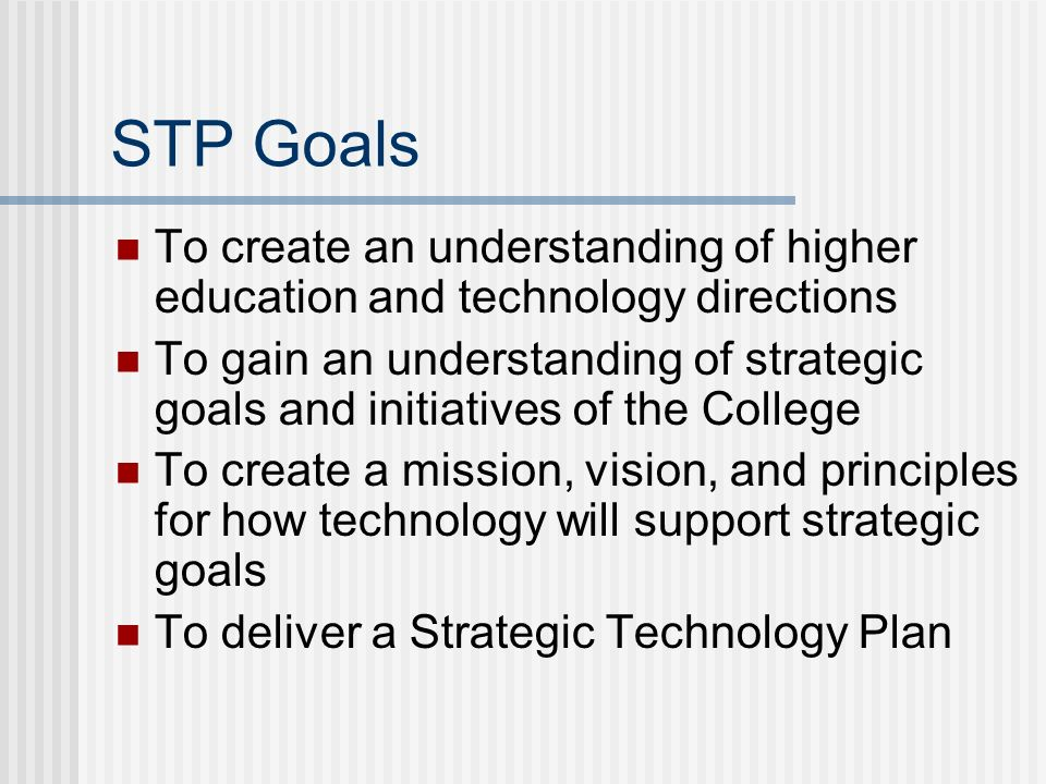 The STP Process Phase 1: Create Strategic Technology Plan Phase 2: Create and Implement a Communication Plan Phase 3: Plan Implementation of Strategic Technology Plan