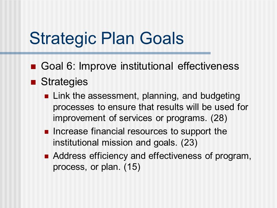Strategic Plan Goals Goal 6: Improve institutional effectiveness Strategies Link the assessment, planning, and budgeting processes to ensure that resu