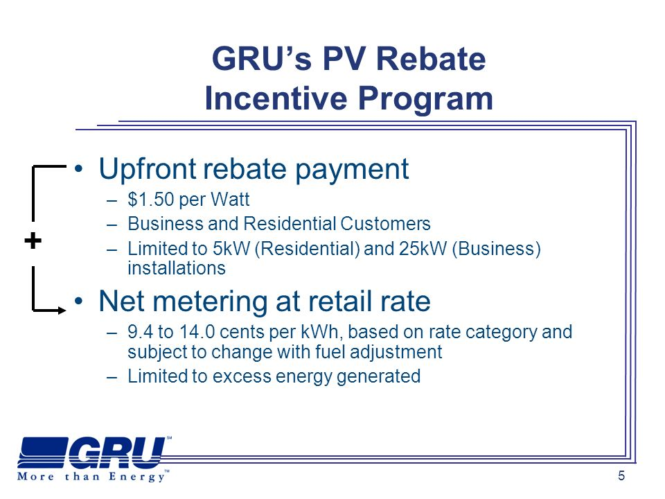 26 FIT in a Nutshell Simple to understand, easy to explain GRU will purchase all the energy produced by your PV system over the next 20 years for 32 cents per kWh.