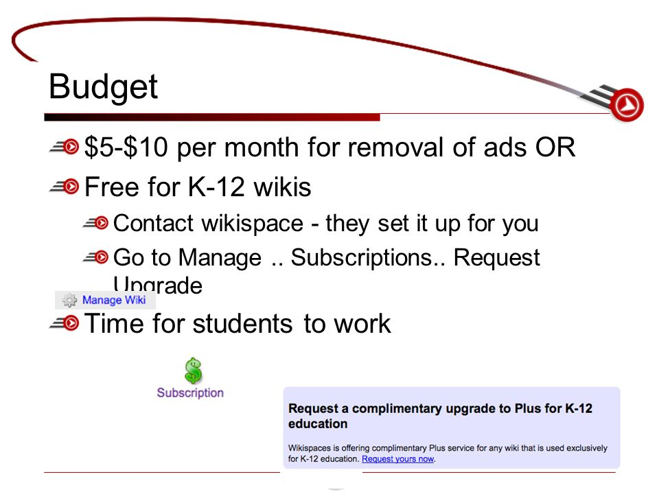 Budget $5-$10 per month for removal of ads OR Free for K-12 wikis Contact wikispace - they set it up for you Go to Manage..