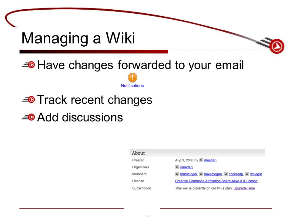 Managing a Wiki Have changes forwarded to your  Track recent changes Add discussions