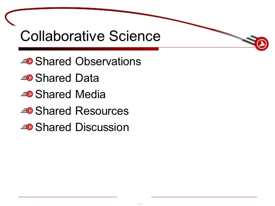 Collaborative Science Shared Observations Shared Data Shared Media Shared Resources Shared Discussion