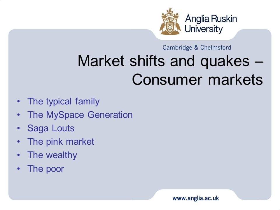 Market shifts and quakes – Consumer markets The typical family The MySpace Generation Saga Louts The pink market The wealthy The poor