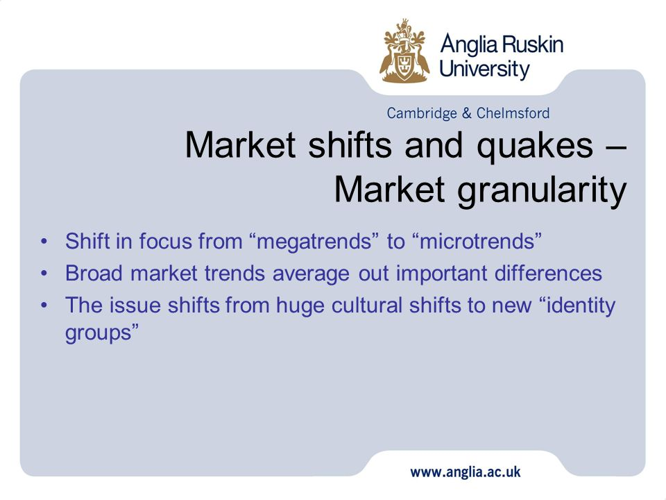 Market shifts and quakes – Market granularity Shift in focus from megatrends to microtrends Broad market trends average out important differences The