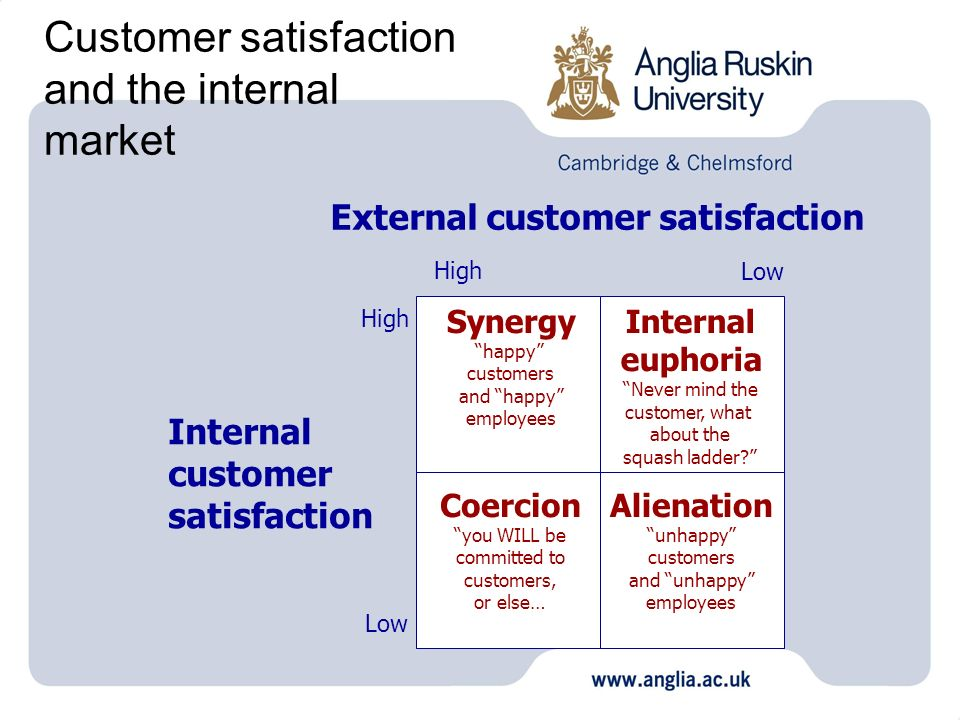 Customer satisfaction and the internal market External customer satisfaction Internal customer satisfaction High Low High Low Synergy happy customers