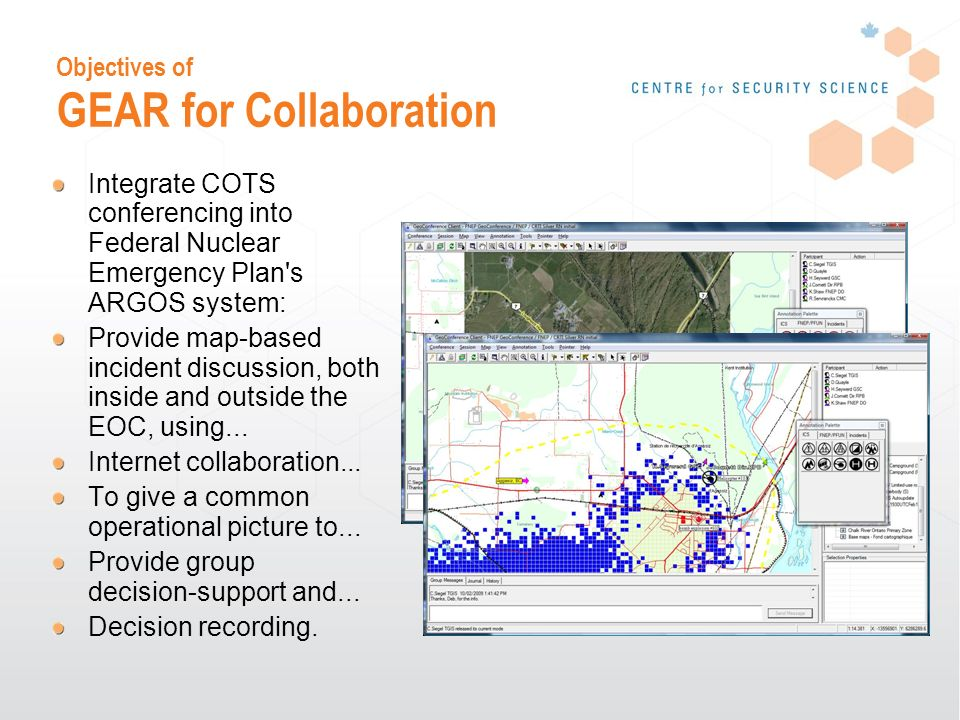 Objectives of GEAR for Collaboration Integrate COTS conferencing into Federal Nuclear Emergency Plan s ARGOS system: Provide map-based incident discussion, both inside and outside the EOC, using...