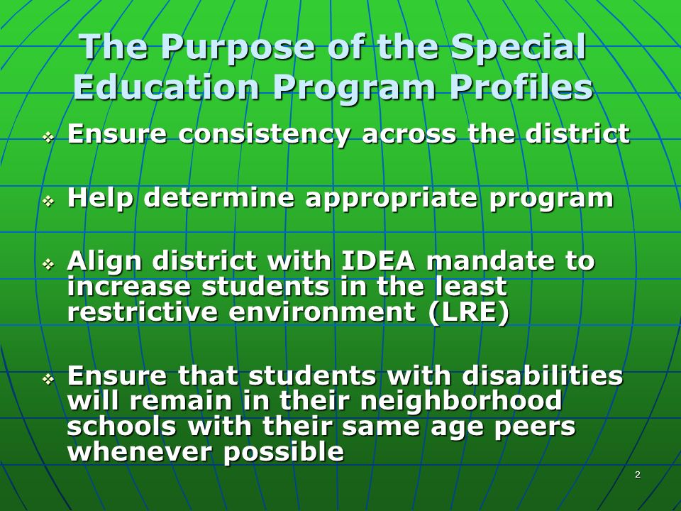 2 The Purpose of the Special Education Program Profiles Ensure consistency across the district Ensure consistency across the district Help determine a