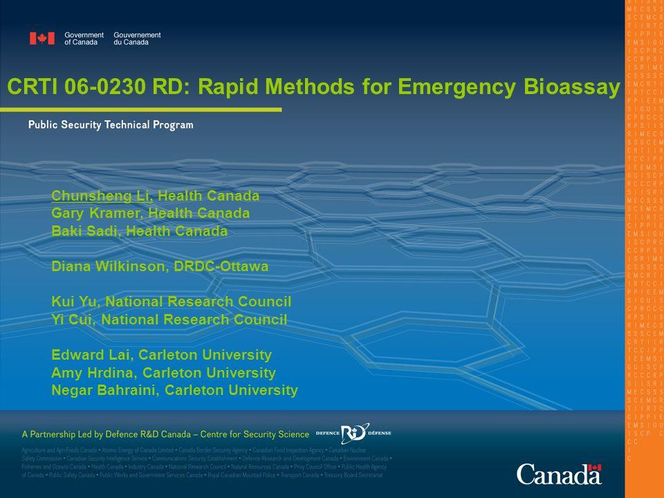 CRTI 06-0230 RD: Rapid Methods for Emergency Bioassay Chunsheng Li, Health Canada Gary Kramer, Health Canada Baki Sadi, Health Canada Diana Wilkinson,