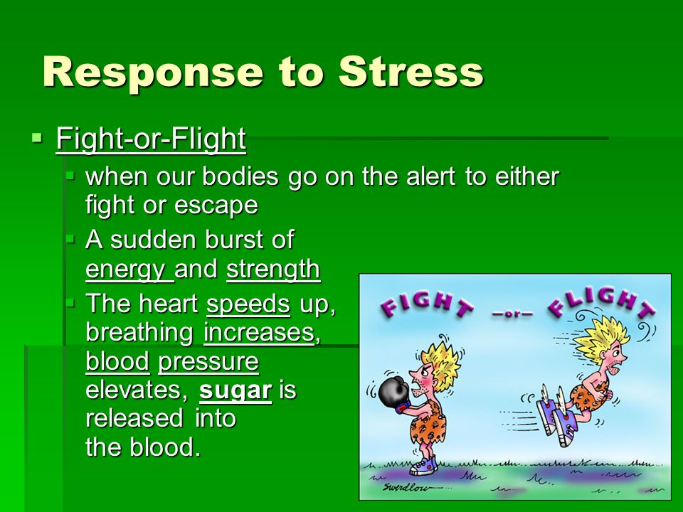 Response to Stress Fight-or-Flight Fight-or-Flight when our bodies go on the alert to either fight or escape when our bodies go on the alert to either