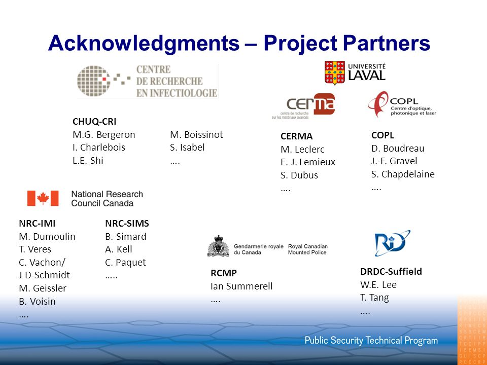 Acknowledgments – Project Partners CERMA M. Leclerc E.