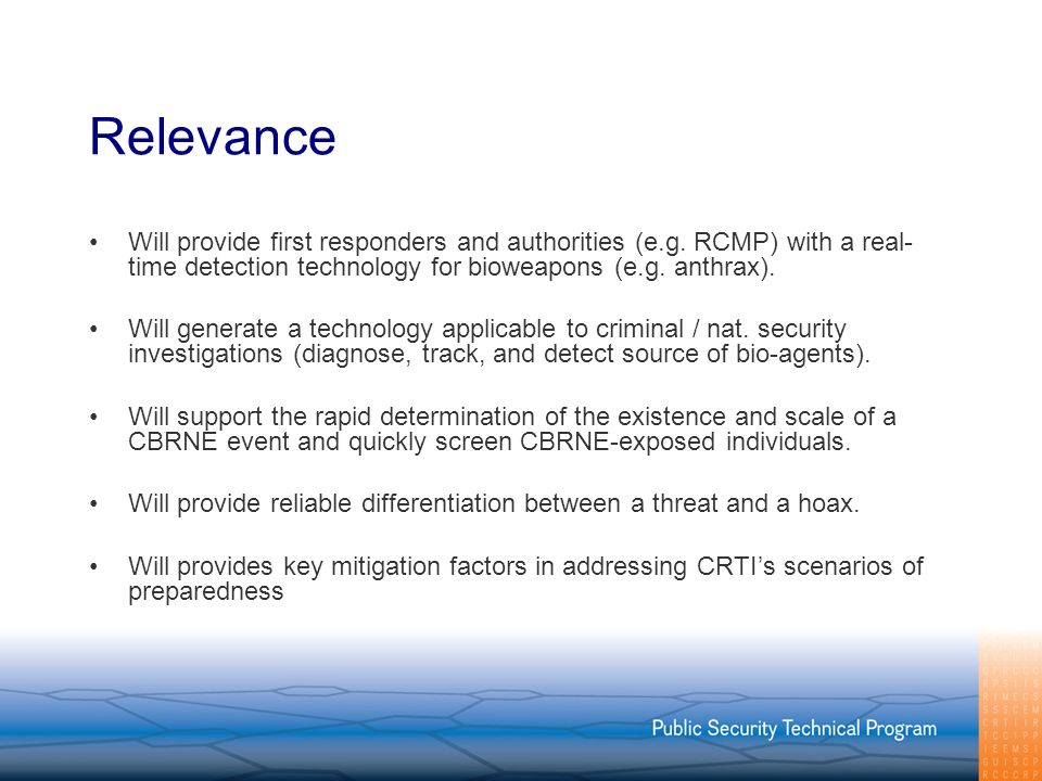 Relevance Will provide first responders and authorities (e.g.