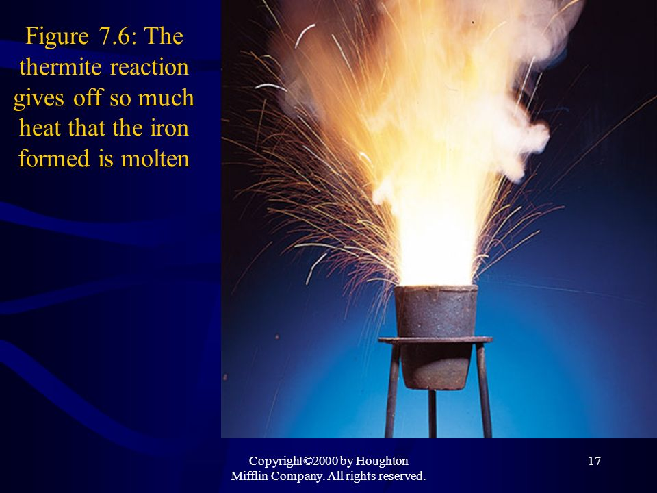Copyright©2000 by Houghton Mifflin Company. All rights reserved. 17 Figure 7.6: The thermite reaction gives off so much heat that the iron formed is m