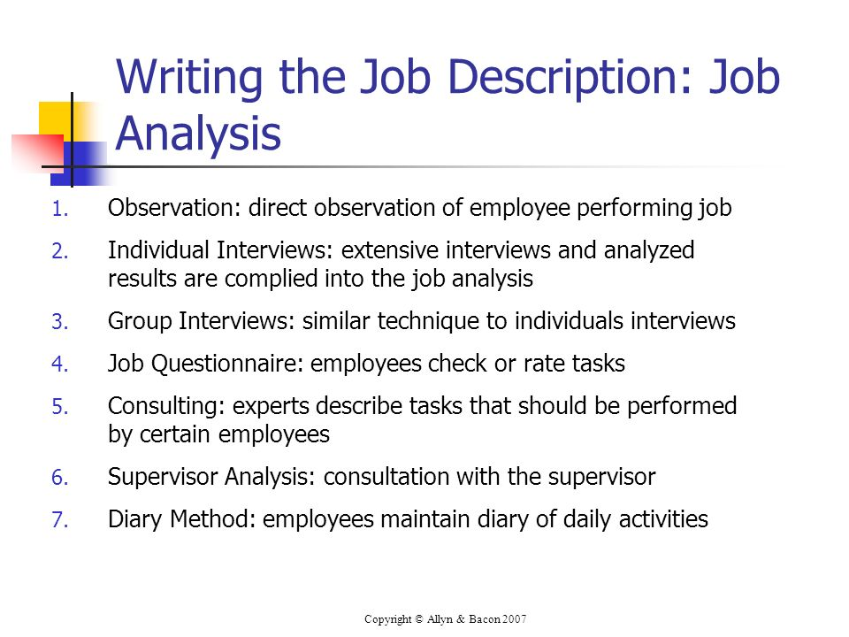 Copyright © Allyn & Bacon 2007 Writing the Job Description: Job Analysis 1. Observation: direct observation of employee performing job 2. Individual I