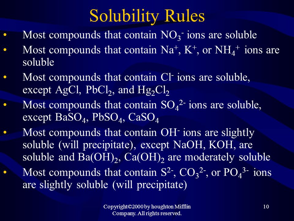 Copyright©2000 by houghton Mifflin Company. All rights reserved. 10 Solubility Rules Most compounds that contain NO 3 - ions are soluble Most compound