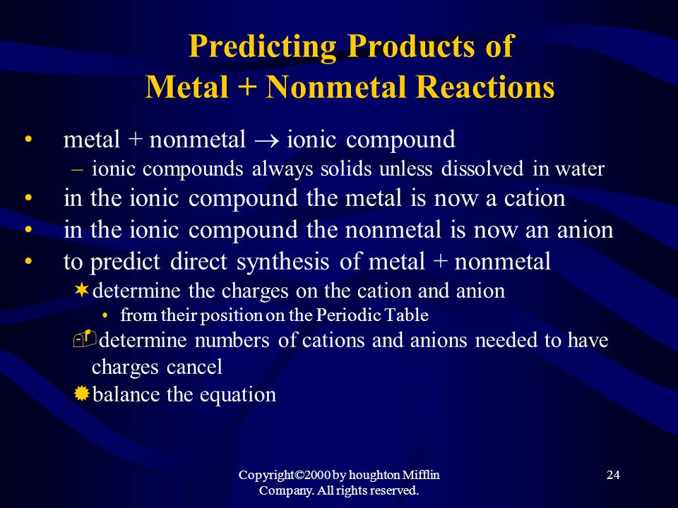 Copyright©2000 by houghton Mifflin Company. All rights reserved. 24 Predicting Products of Metal + Nonmetal Reactions metal + nonmetal ionic compound