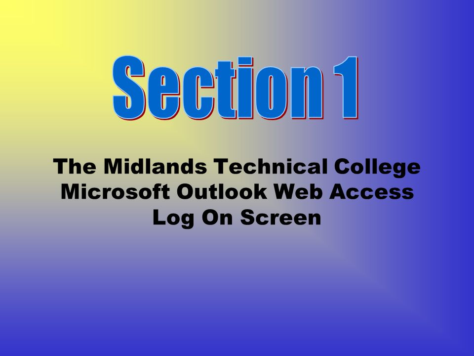 The Midlands Technical College Microsoft Outlook Web Access Log On Screen