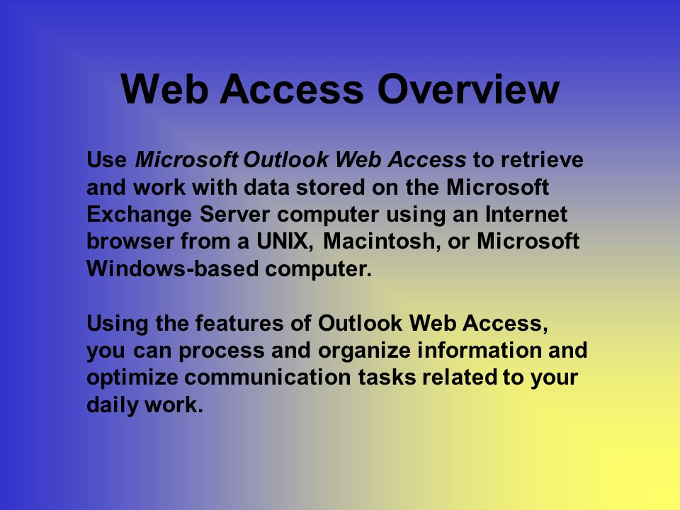 Viewers Inbox Viewer, Calendar Viewer, Contacts Viewer, and Public Folders Viewer display the options provided by Outlook Web Access.