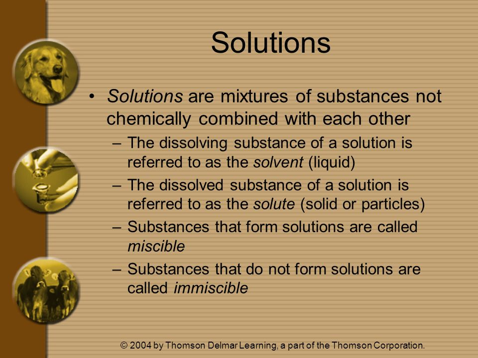 © 2004 by Thomson Delmar Learning, a part of the Thomson Corporation. Solutions Solutions are mixtures of substances not chemically combined with each