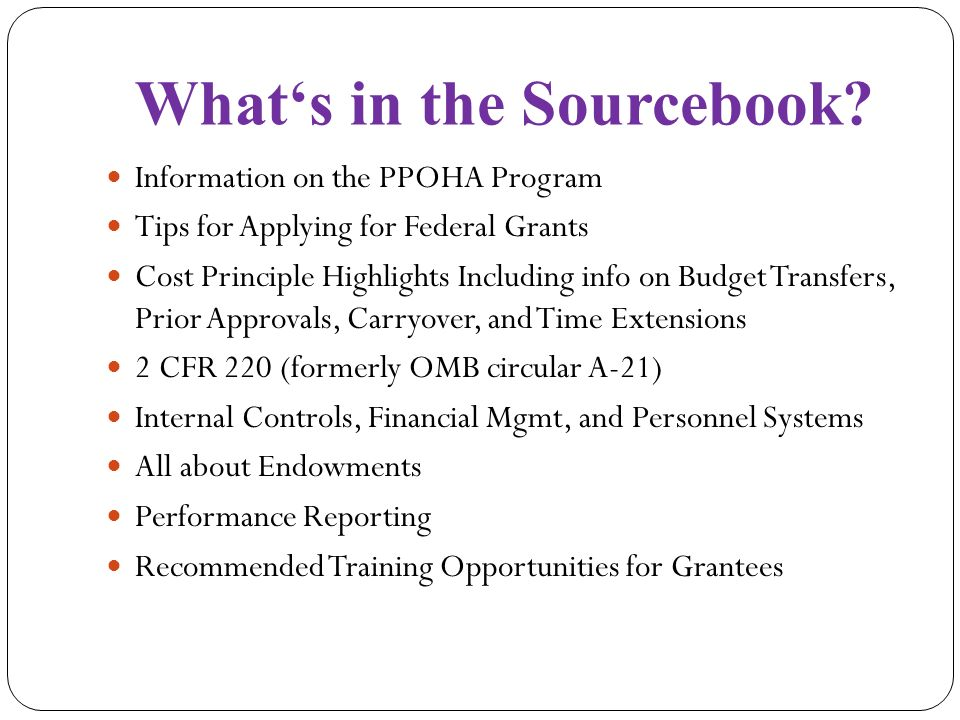 Whats in the Sourcebook.