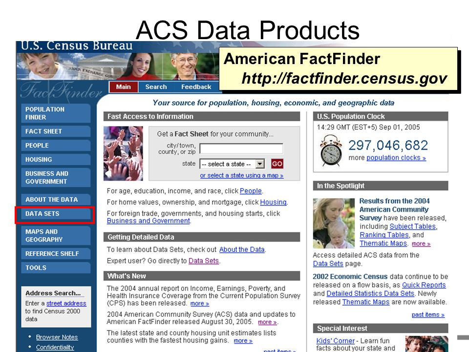 ACS Data Products American FactFinder