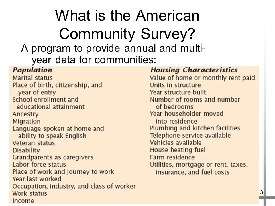 3 What is the American Community Survey.