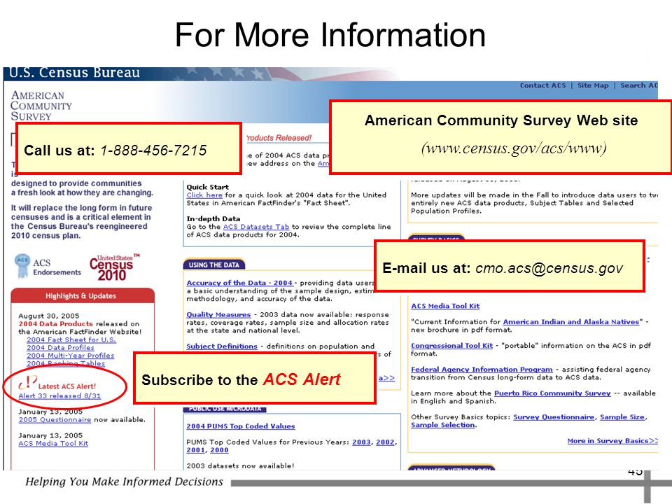 45 For More Information  us at: American Community Survey Web site (  Call us at: Subscribe to the ACS Alert