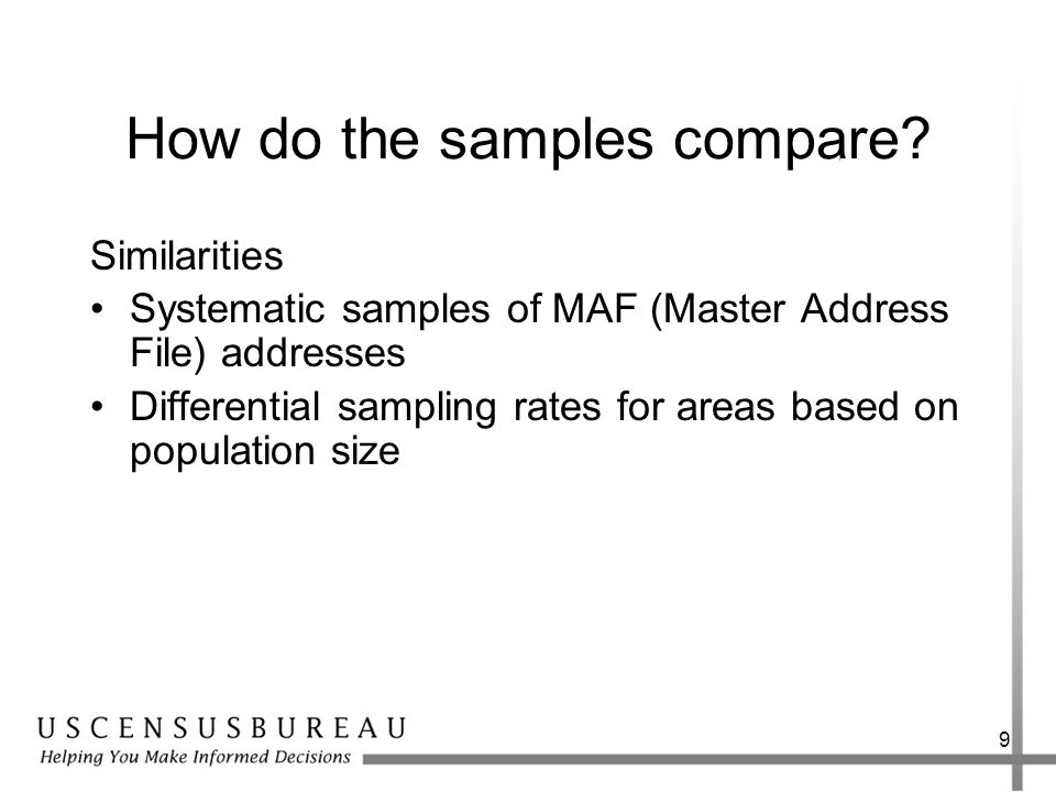 9 How do the samples compare.