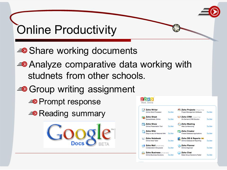 Online Productivity Share working documents Analyze comparative data working with studnets from other schools.