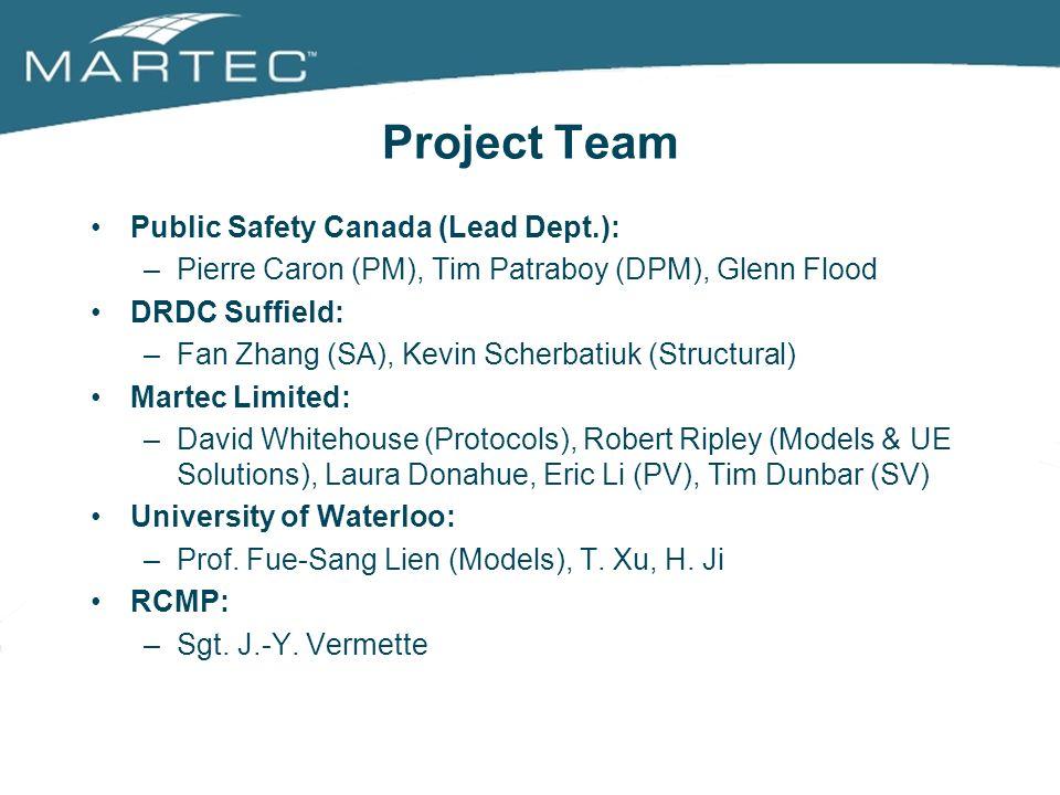 Project Team Public Safety Canada (Lead Dept.): –Pierre Caron (PM), Tim Patraboy (DPM), Glenn Flood DRDC Suffield: –Fan Zhang (SA), Kevin Scherbatiuk