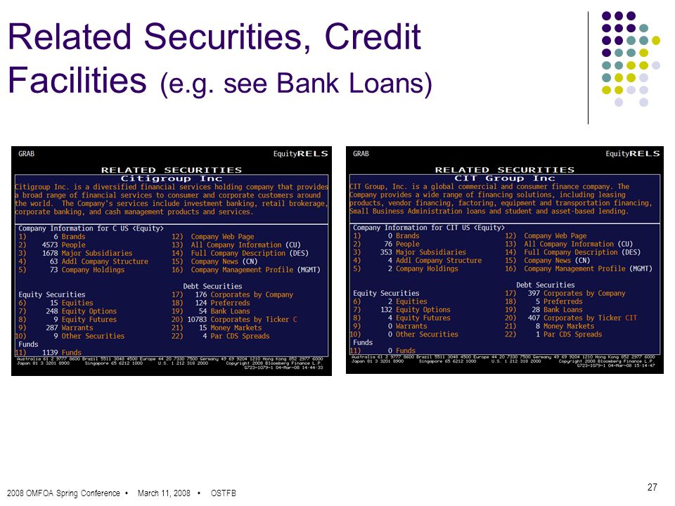 2008 OMFOA Spring Conference March 11, 2008 OSTFB 27 Related Securities, Credit Facilities (e.g.