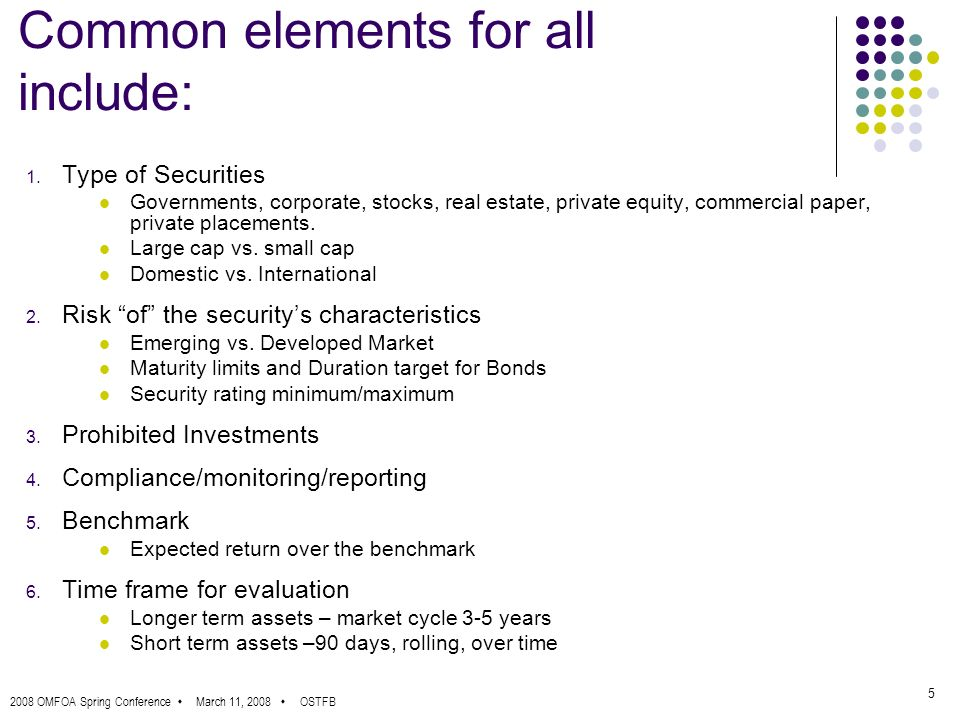 2008 OMFOA Spring Conference March 11, 2008 OSTFB 5 Common elements for all include: 1.