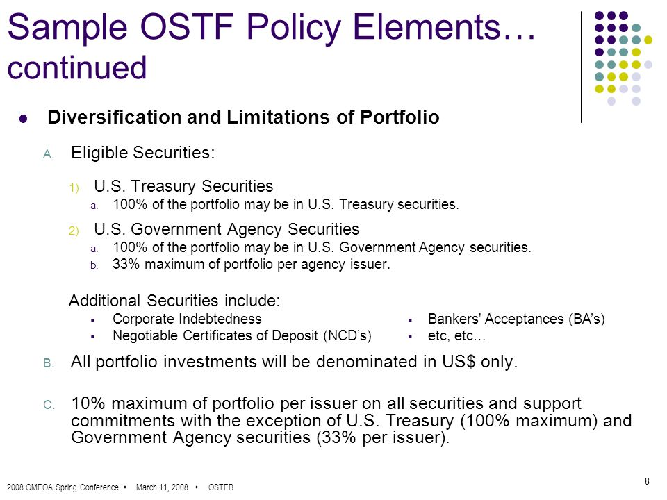 2008 OMFOA Spring Conference March 11, 2008 OSTFB 8 Sample OSTF Policy Elements… continued Diversification and Limitations of Portfolio A.