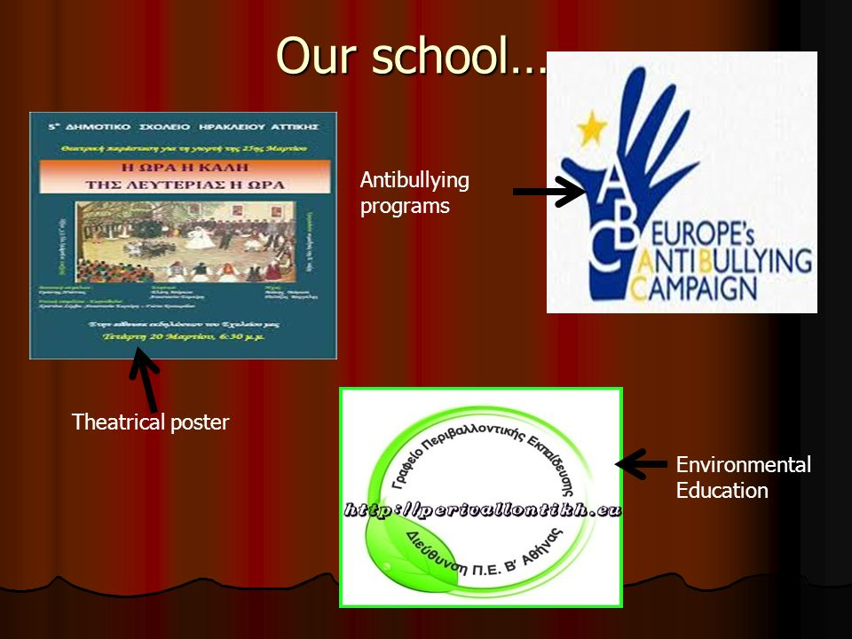 Our school… Theatrical poster Environmental Education Antibullying programs