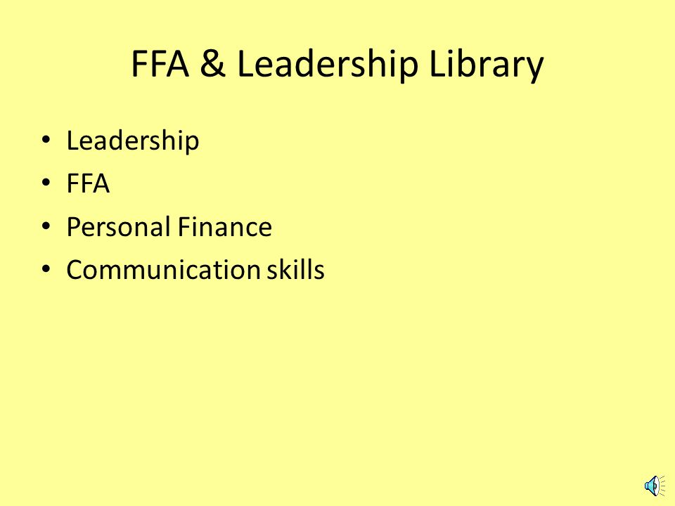 From the main subscriber page Choose FFA & Leadership
