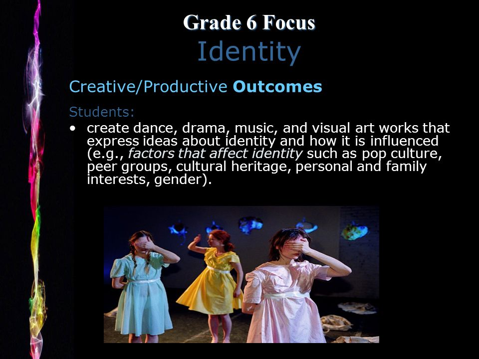 Grade 6 Focus Grade 6 Focus Identity Creative/Productive Outcomes Students: create dance, drama, music, and visual art works that express ideas about identity and how it is influenced (e.g., factors that affect identity such as pop culture, peer groups, cultural heritage, personal and family interests, gender).