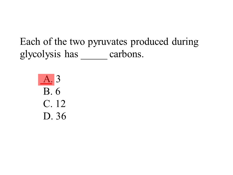 Each of the two pyruvates produced during glycolysis has _____ carbons. A. 3 B. 6 C. 12 D. 36 ___