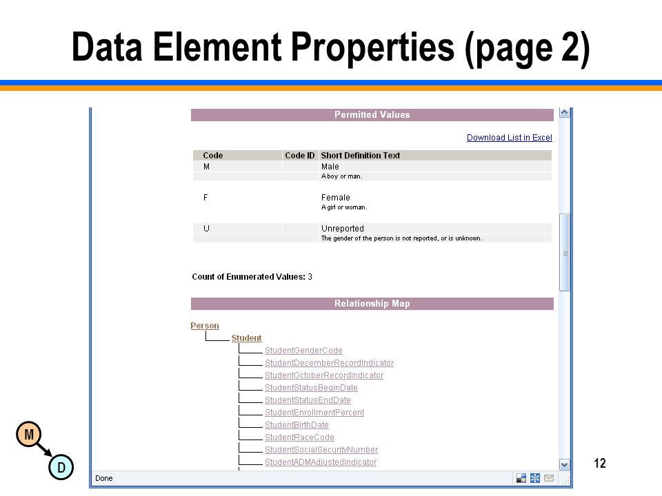 M D Copyright 2008 Dan McCreary & Associates12 Data Element Properties (page 2)