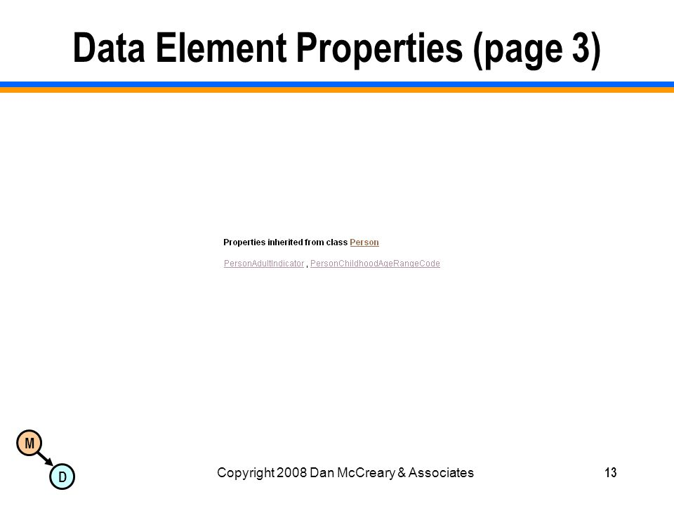 M D Copyright 2008 Dan McCreary & Associates13 Data Element Properties (page 3)