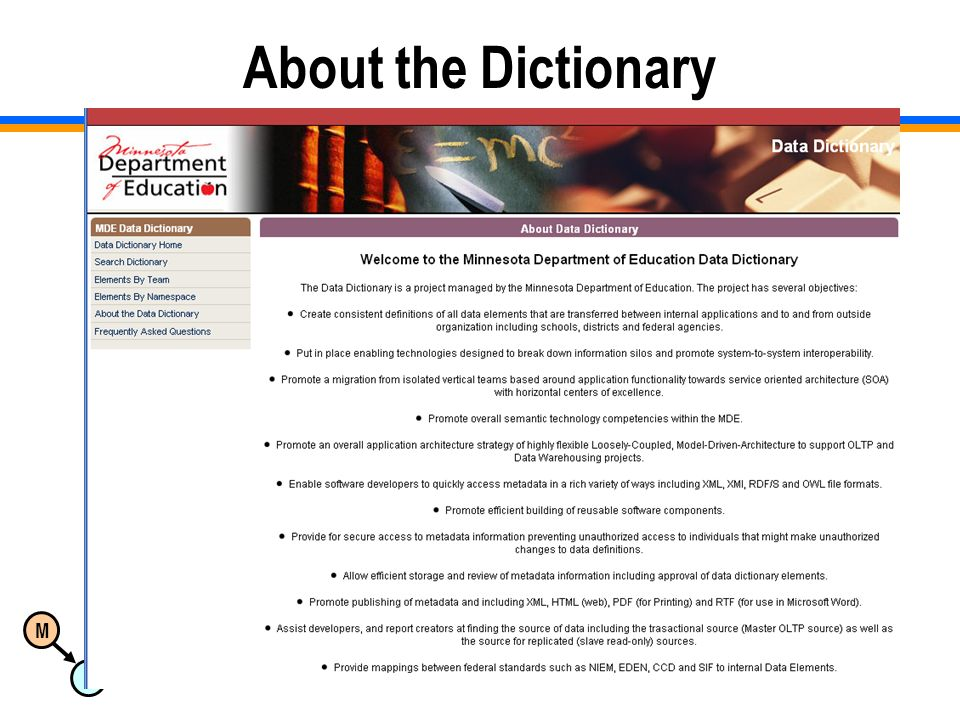 M D Copyright 2008 Dan McCreary & Associates9 About the Dictionary