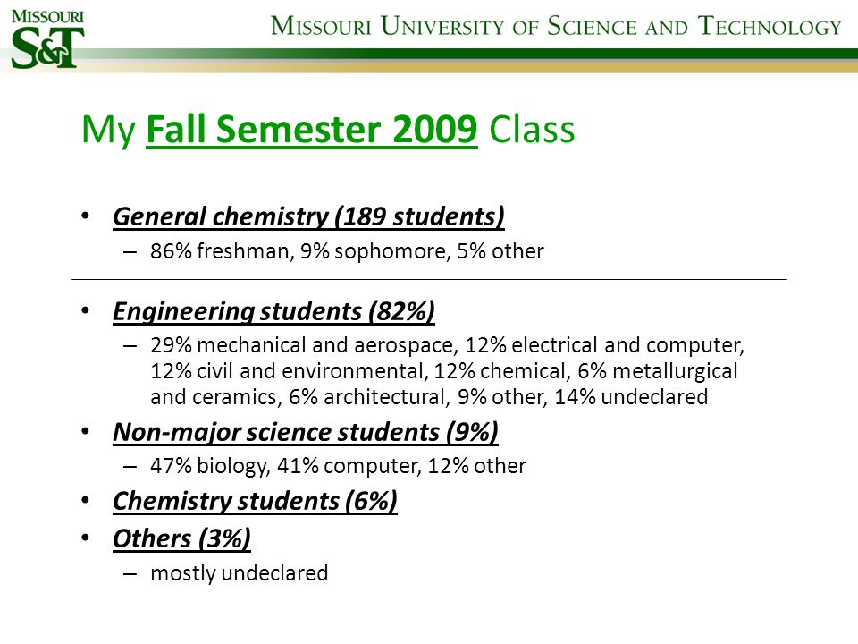 My Fall Semester 2009 Class General chemistry (189 students) – 86% freshman, 9% sophomore, 5% other Engineering students (82%) – 29% mechanical and ae