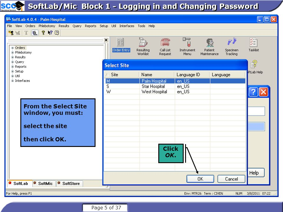Page 6 of 37 SoftLab/Mic Block 1 – User Tool Bars and Screen Standards Log-On button - Clicking on this will display login screen for credentials.