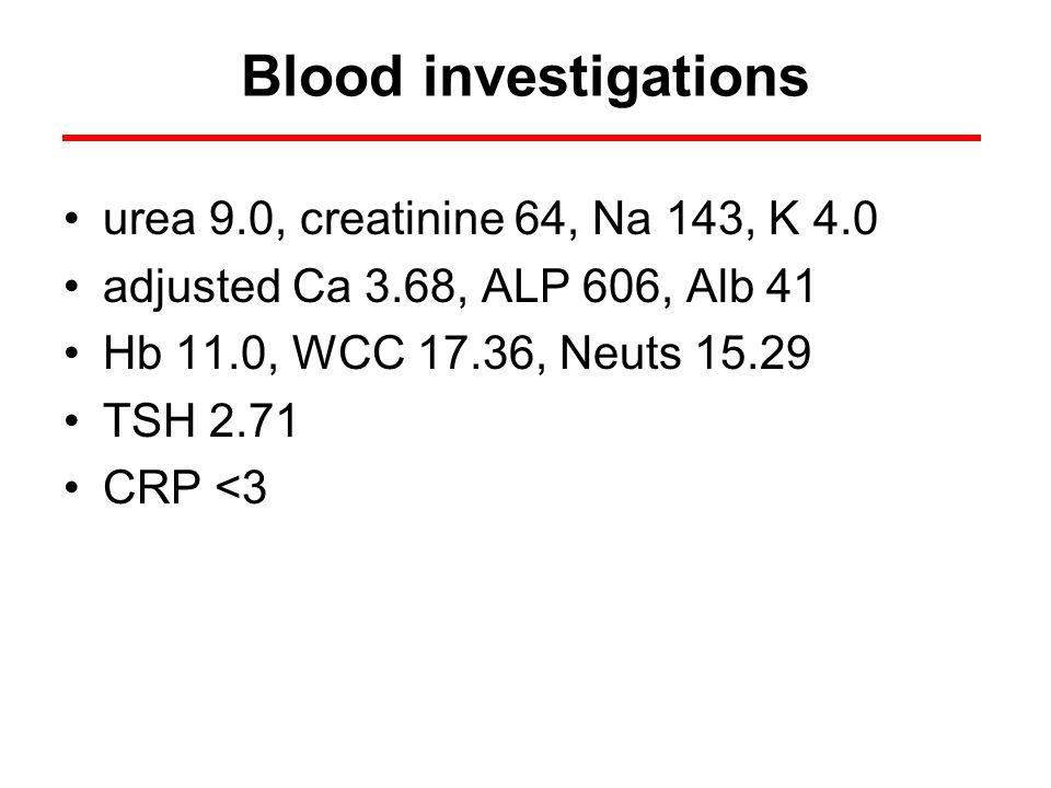 Blood investigations urea 9.0, creatinine 64, Na 143, K 4.0 adjusted Ca 3.68, ALP 606, Alb 41 Hb 11.0, WCC 17.36, Neuts 15.29 TSH 2.71 CRP <3