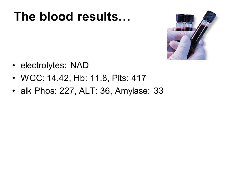 The blood results… electrolytes: NAD WCC: 14.42, Hb: 11.8, Plts: 417 alk Phos: 227, ALT: 36, Amylase: 33