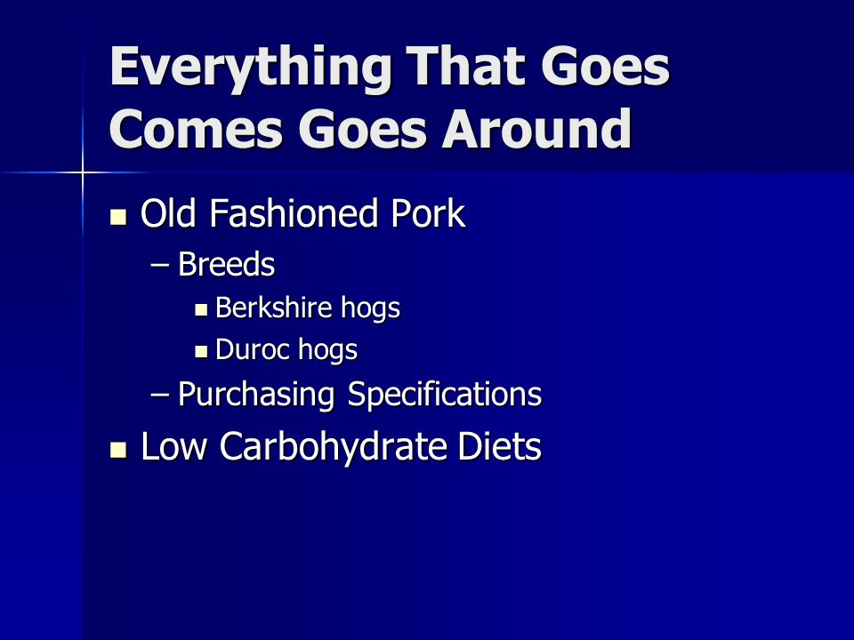 Everything That Goes Comes Goes Around Old Fashioned Pork Old Fashioned Pork –Breeds Berkshire hogs Berkshire hogs Duroc hogs Duroc hogs –Purchasing Specifications Low Carbohydrate Diets Low Carbohydrate Diets